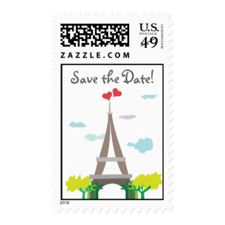 Eiffel Tower Paris Save the Date Stamps
