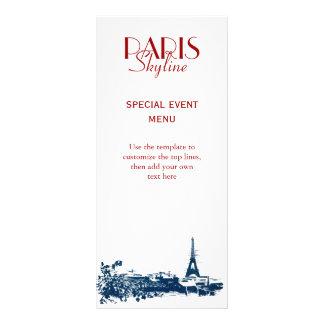 Eiffel Tower Paris Skyline Sketch Custom Rack Card