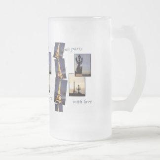 EIFFEL TOWER PARIS SOUVENIR 16 OZ FROSTED GLASS BEER MUG