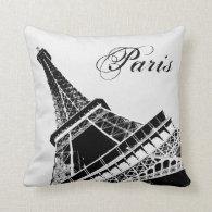 Eiffel Tower Paris Stylish Black and White pillow