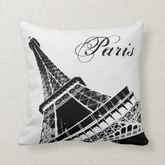 Eiffel Tower Paris Stylish Black and White Throw Pillow