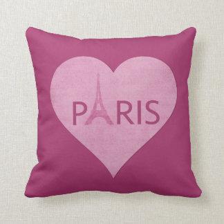 Eiffel Tower   Paris Stylish Pink Heart Music Throw Pillow
