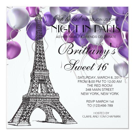 Paris Eiffel Tower Pillow 16 X 16: Eiffel Tower Paris Sweet 16 Invitation