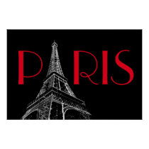 Eiffel Tower Paris Travel Black White Red Pop Art