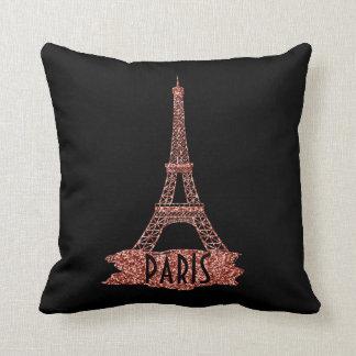 Eiffel Tower Paris Trendy Rose Gold Glitter Girly Throw Pillow