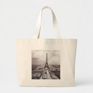 Eiffel Tower Paris Vintage Exposition Universelle Large Tote Bag