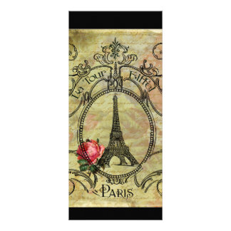 Eiffel Tower Paris Vintage Style Red Rose Rack Card Template