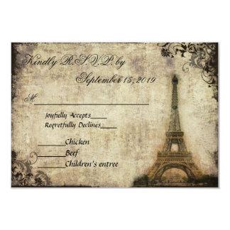 Eiffel Tower Paris Vintage Wedding RSVP Card