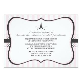 Eiffel Tower Paris Wedding 5x7 Paper Invitation Card