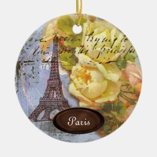 Eiffel Tower Paris Yellow Roses Christmas Ornament