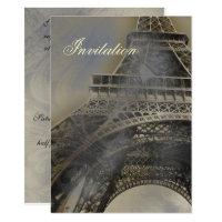 Eiffel tower Parisian french  wedding invitation
