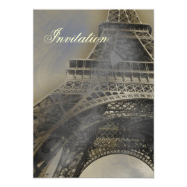 Vintage Eiffel Tower Paris  Wedding Invitations