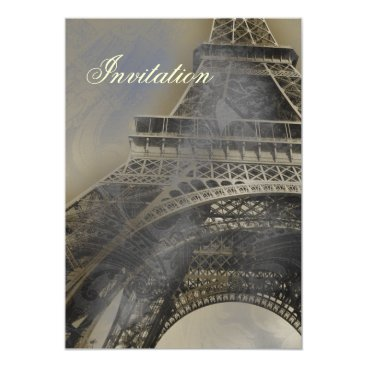 Eiffel tower Parisian french  wedding invitation