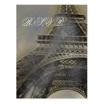 eiffel tower Parisian french Wedding rsvp card