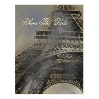 Eiffel tower Parisian french wedding Save the Date Postcard