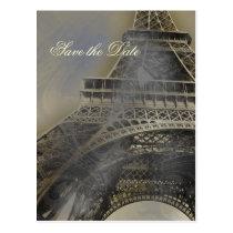 Eiffel tower Parisian french wedding Save the Date Postcard