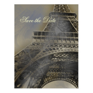 Eiffel tower Parisian french wedding Save the Date Post Cards