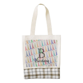Eiffel Tower pattern personalized Zazzle HEART Tote Bag