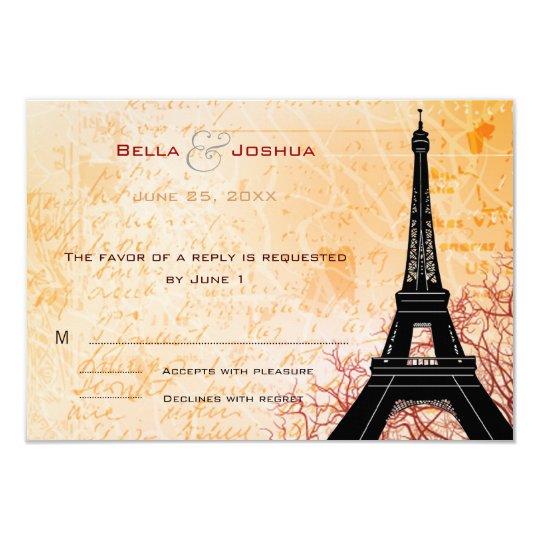 Eiffel Tower Peach RSVP Card