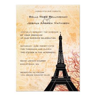 """Eiffel Tower Peach Wedding Invitation 5.5"""" X 7.5"""" Invitation Card"""