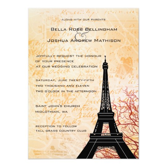 Eiffel Tower Wedding Invitations: Eiffel Tower Peach Wedding Invitation