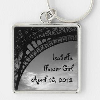 Eiffel Tower Personalized Flower Girl Keychain