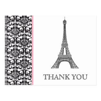 Eiffel Tower Pink Bridal Shower Thank You Postcard