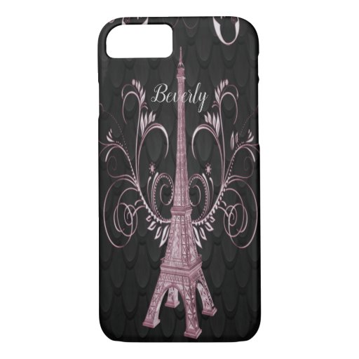 Eiffel Tower Pink Floral Swirls iPhone Case