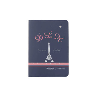 Eiffel Tower pink monogram passport cover for her