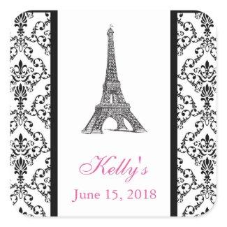 Eiffel Tower Pink Paris Bridal Shower Favor Label