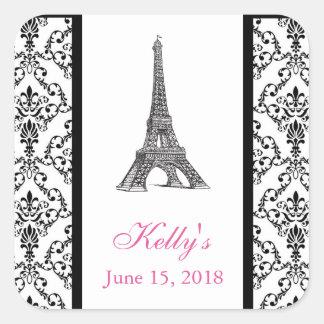 Eiffel Tower Pink Paris Bridal Shower Favor Label Square Sticker