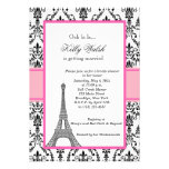 Eiffel Tower Pink Paris Bridal Shower Invitation Personalized Invitation