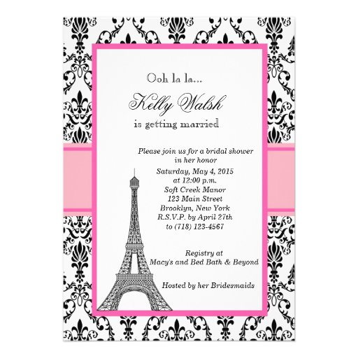 Eiffel Tower Pink Paris Bridal Shower Invitation Personalized ...