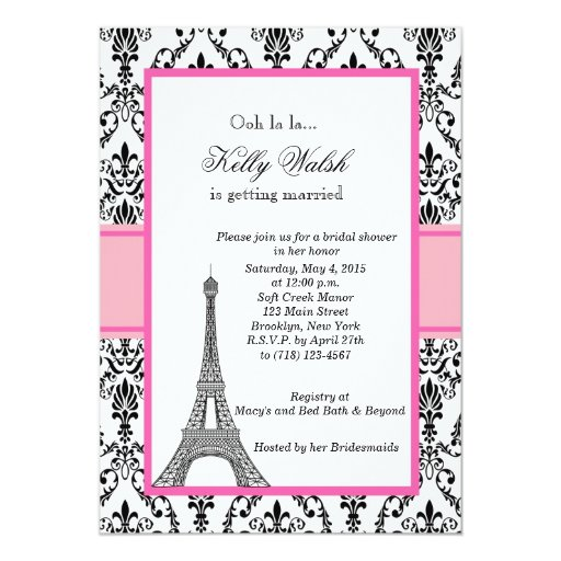 Eiffel tower pink paris bridal shower invitation 5 x 7 for Paris themed invitations bridal shower