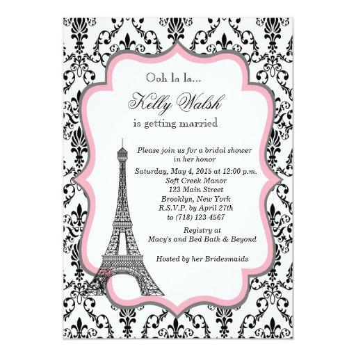 Eiffel Tower Pink Paris Bridal Shower Invitation