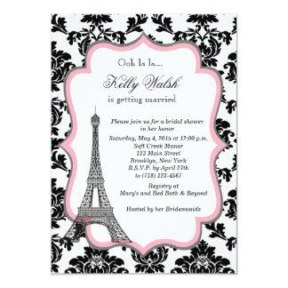 "Eiffel Tower Pink Paris Bridal Shower Invitation 5"" X 7"" Invitation Card"