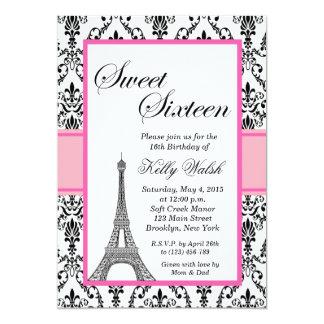 Eiffel Tower Pink Paris Sweet Sixteen Invitation