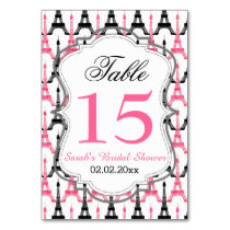 Eiffel tower Pink Personalized table numbers
