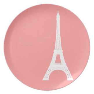 Eiffel Tower Pink Party Plate