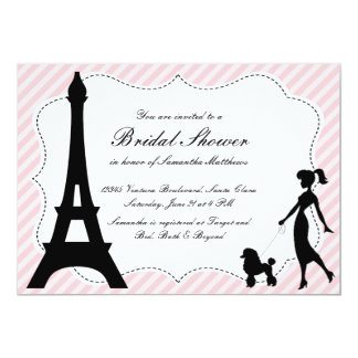 Eiffel Tower & Pink Poodle Bridal Shower Invitatio Personalized Announcement