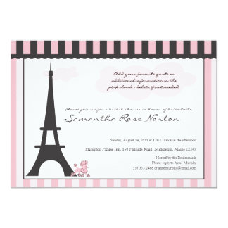 Eiffel Tower & Pink Poodle  Bridal Shower Personalized Announcement