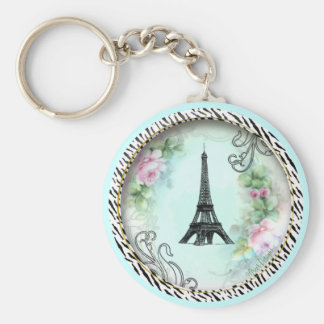 Eiffel Tower Pink Roses and Zebra Print Keychain