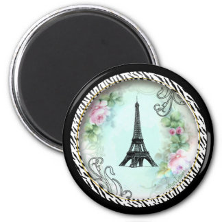 Eiffel Tower Pink Roses and Zebra Print Magnet