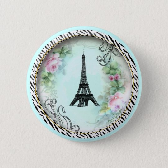 Eiffel Tower Pink Roses and Zebra Print Pinback Button