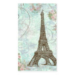 Eiffel Tower Pink Roses & Scrolls Business Card