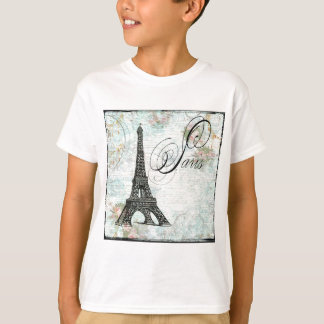 Eiffel Tower Pink Roses T-Shirt