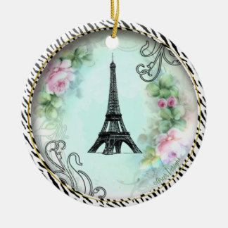 Eiffel Tower Pink Roses Zebra print Double-Sided Ceramic Round Christmas Ornament