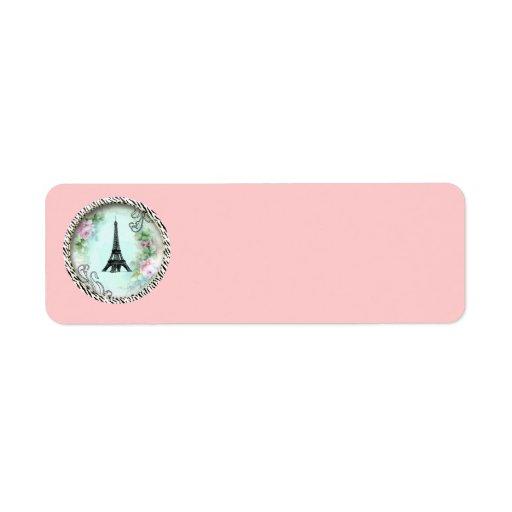 Eiffel Tower Pink Roses Zebra Print Tags Return Address Label