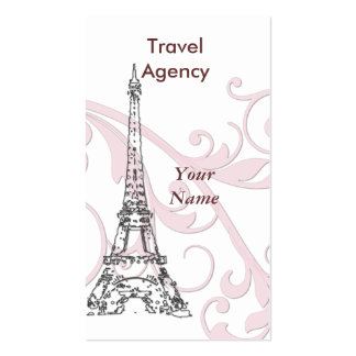 Eiffel Tower & Pink Scroll Business Card Templates