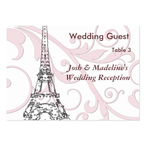 Eiffel Tower & Pink Scroll Reception Table cards Large Business Cards (Pack Of 100)
